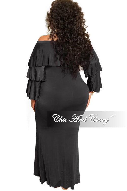 New Plus Size Off the Shoulder Ruffle Long Dress in Black