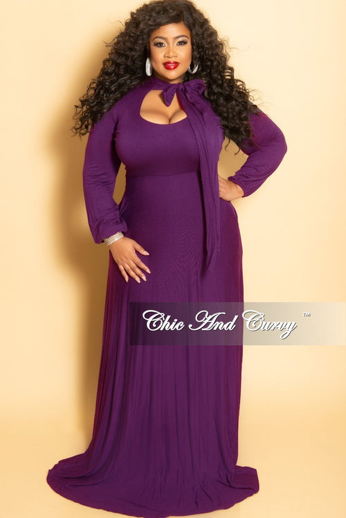 New Plus Size Long Dress with Long Sleeve and Neck Bow Tie in Dark Purple