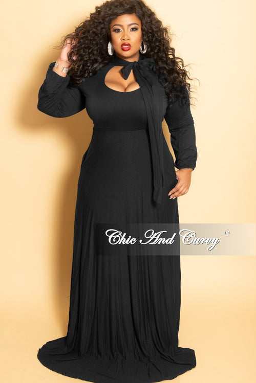 Final Sale Plus Size Long Dress with Long Sleeve with Neck Bow Tie in Black