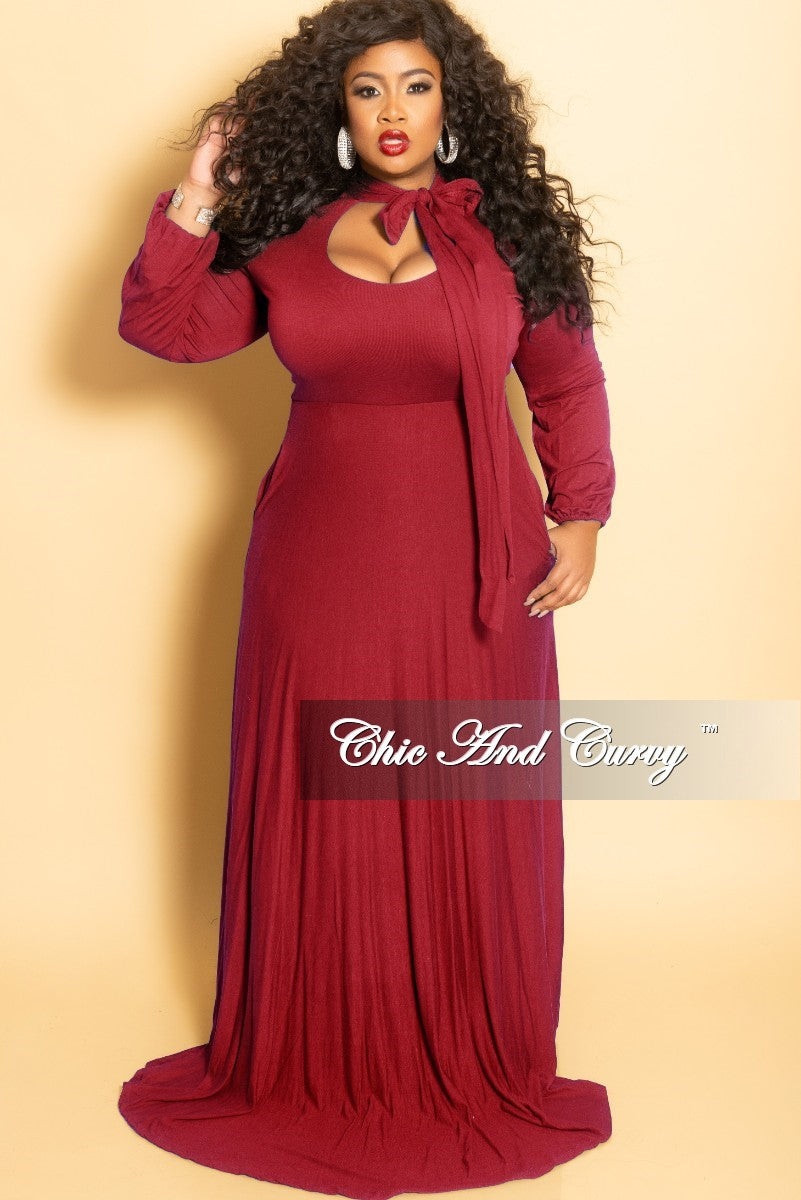42683be585a Final Sale Plus Size Long Dress with Long Sleeve with Neck Bow Tie in – Chic  And Curvy