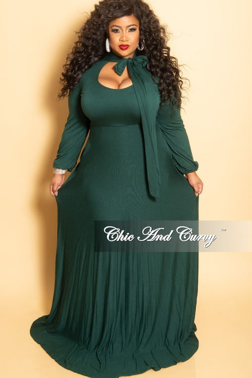 New Plus Size Long Dress with Long Sleeve and Neck Bow Tie in Hunter Green