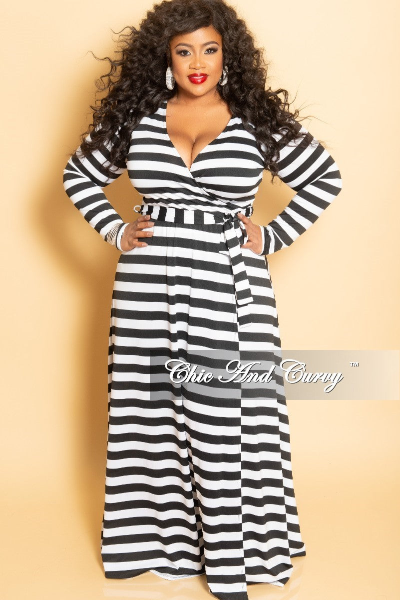 f258101d7ffd Final Sale Plus Size Long Wrap Dress with Attached Tie in Black and Wh –  Chic And Curvy