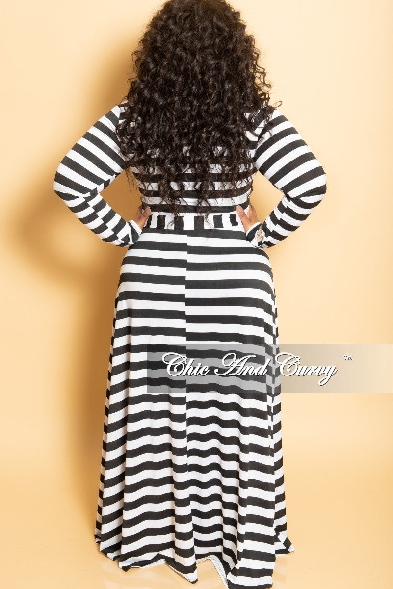 Final Sale Plus Size Long Wrap Dress with Attached Tie in Black and White Stripe Print