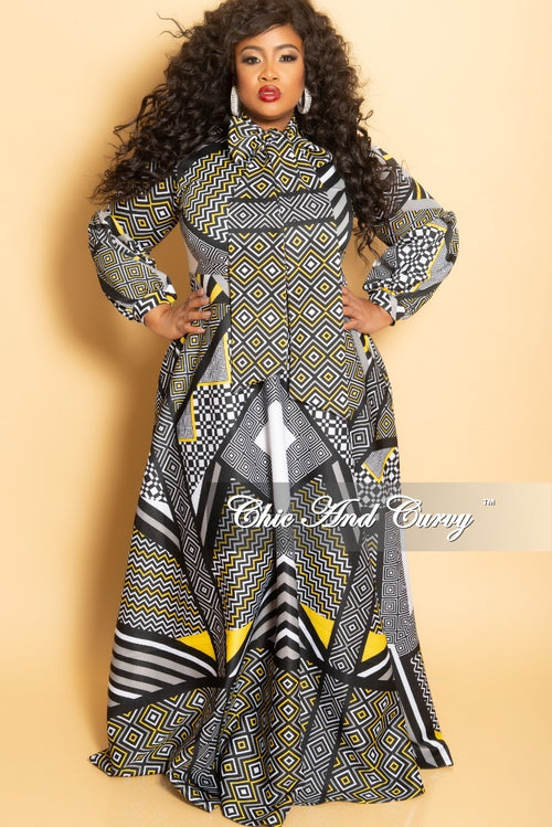 New Plus Size Long Sleeve Gown with Puffy Sleeves and Neck Tie in Multi Color Print