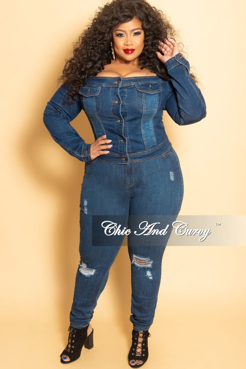 Final Sale Plus Size Off the Shoulder Button Up Crop Jacket in Dark Denim