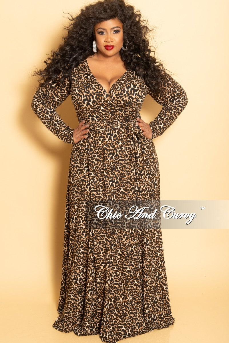 Final Sale Plus Size Long Wrap Dress with Attached Tie in Animal Print