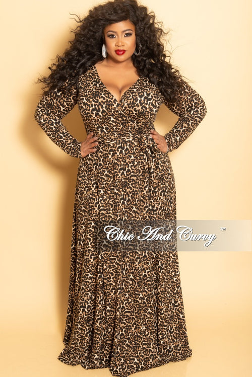 New Plus Size Long Wrap Dress with Attached Tie in Animal Print