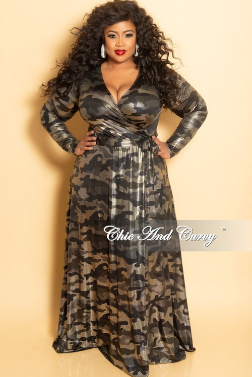 New Plus Size Long Wrap Dress with Tie in Olive Camouflage Foil Print