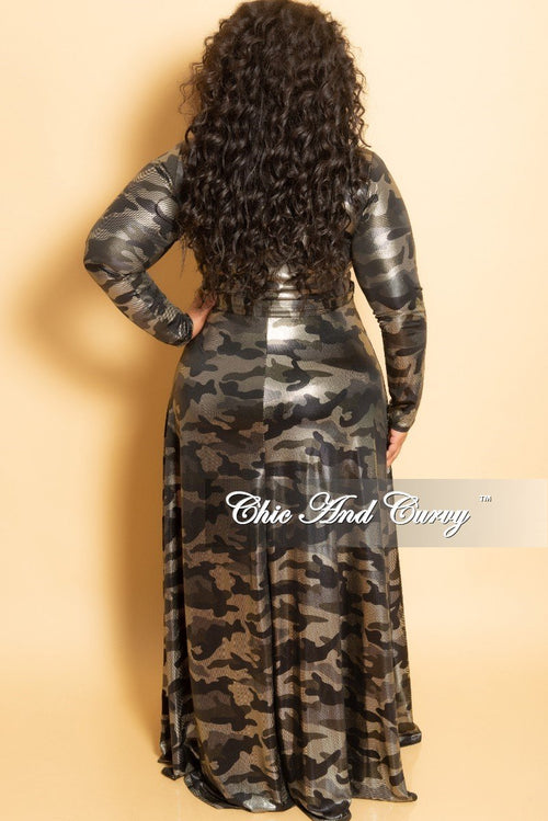 New Plus Size Long Wrap Dress with Tie in Olive Gold Camouflage Foil Print