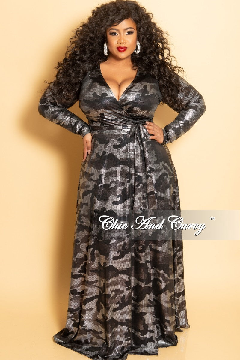 New Plus Size Long Wrap Dress with Tie in Silver Camouflage Foil Print