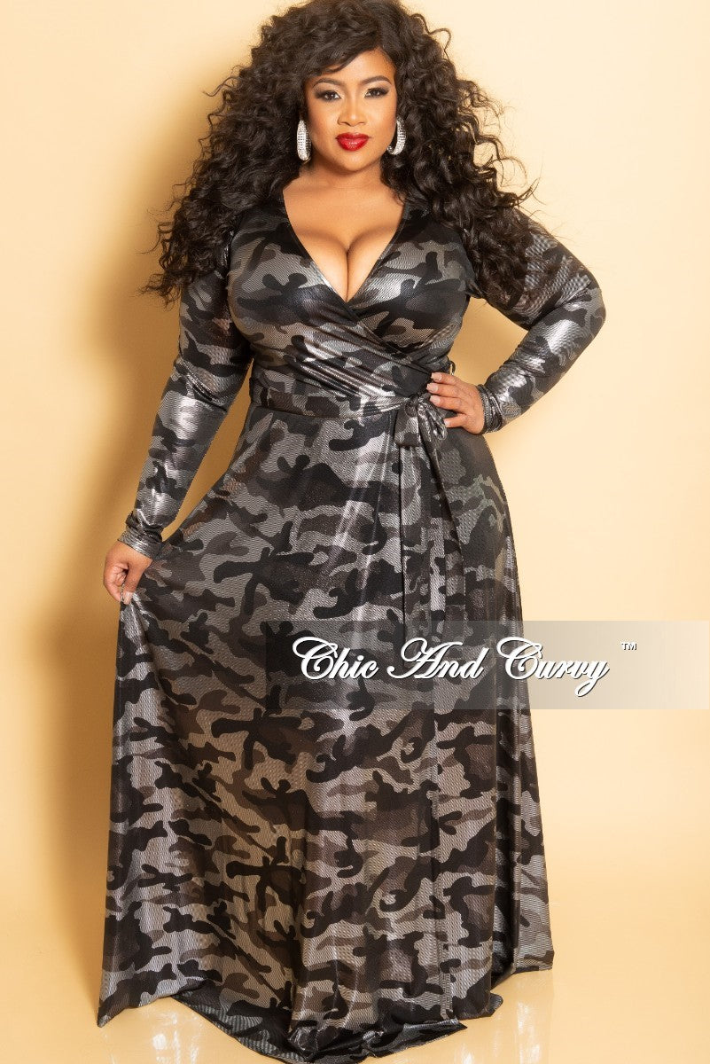 019431381a6 New Plus Size Long Wrap Dress with Tie in Silver Camouflage Foil Print –  Chic And Curvy