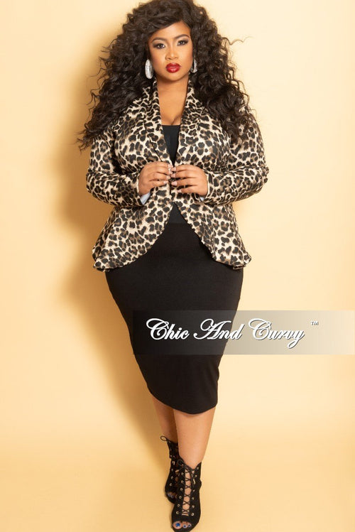 New Plus Size Long Sleeve Blazer in Animal Print