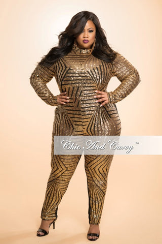 Final Sale Plus Size Sequin Jumpsuit with Back Cutout in Gold