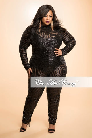 Final Sale Plus Size Sequin Jumpsuit with Back Cutout in Black