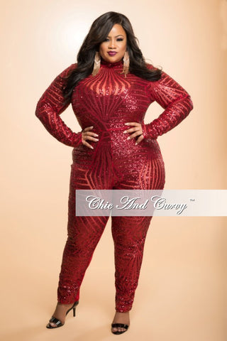 Final Sale Plus Size Sequin Jumpsuit with Back Cutout in Red