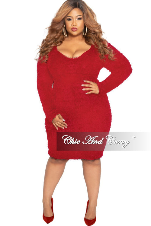 Final Sale Plus Size Long Sleeve Faux Fur BodyCon Dress in Red