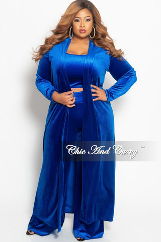 New Plus Size Velvet 3-Piece Sleeveless Crop Top and Pants Set with Matching Long Duster in Black