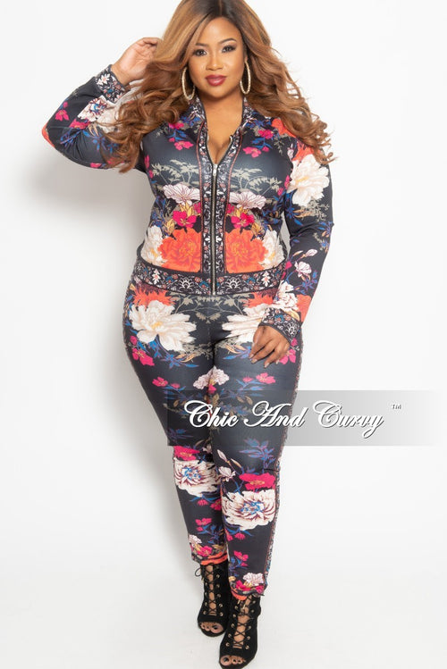 Final Sale Plus Size 2-Piece Jacket and Pants Set in Navy and Orange Floral Print