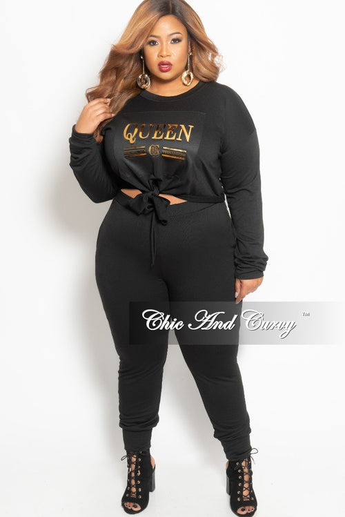 New Plus Size 2-Piece Queen Top and Pants Set with Bow Tie in Black and Gold