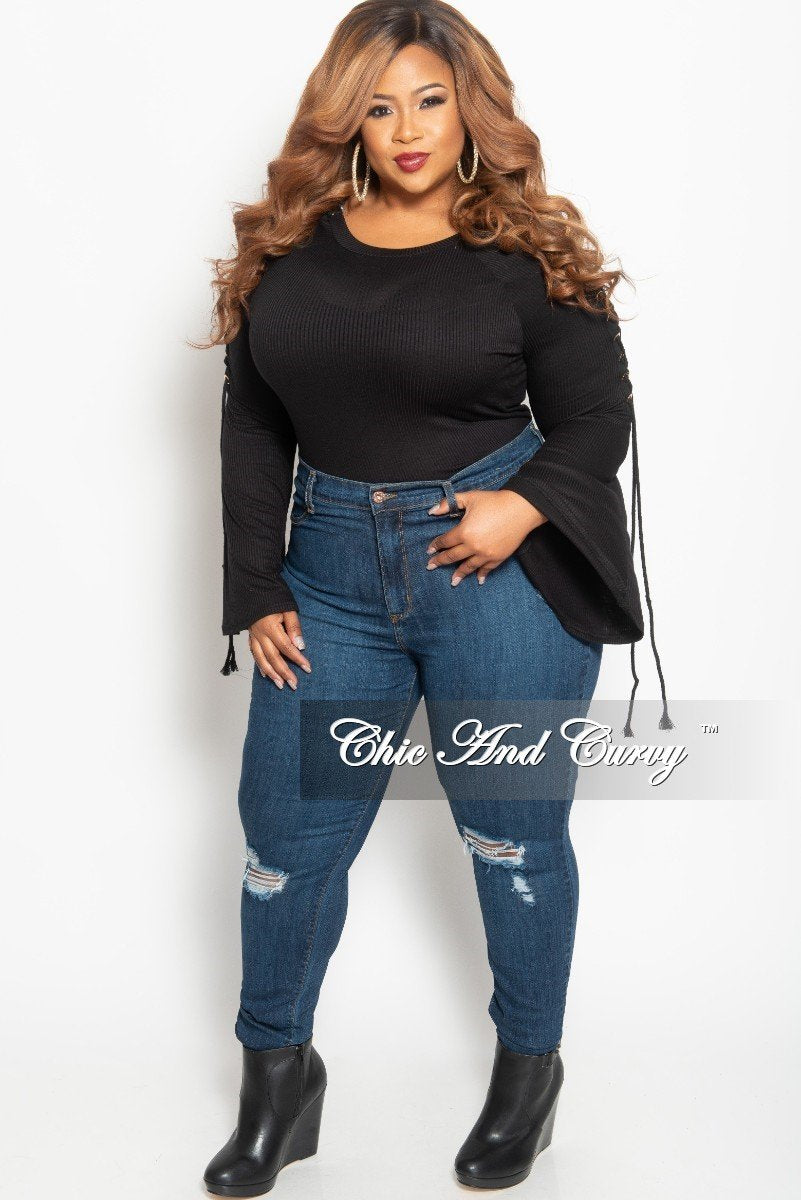 Final Sale Plus Size Crop Top with Gold Grommet Lace Up Bell Sleeves in Black Ribbed Fabric