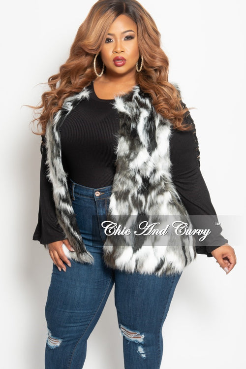 Final Sale Plus Size Faux Fur Vest in White, Black and Grey One Size