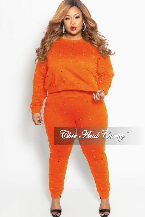 New Plus Size 2-Piece Studded Pullover Top and Jogger Pants Set in Orange and Silver