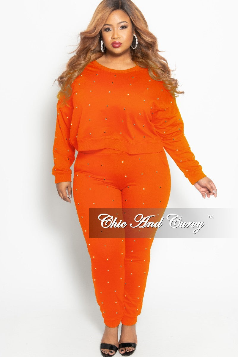 Final Sale Plus Size 2-Piece Studded Pullover Top and Jogger Pants Set in Orange and Silver