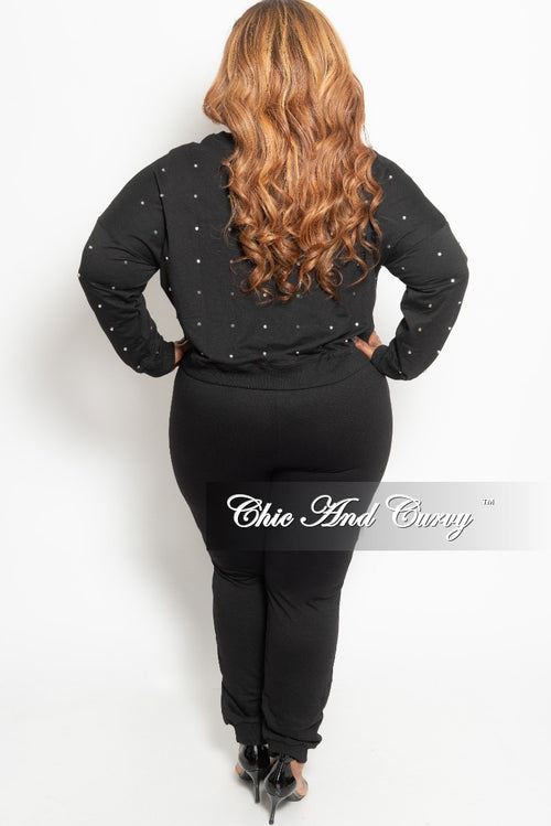 New Plus Size 2-Piece Studded Pullover Top and Jogger Pants Set in Black and Silver