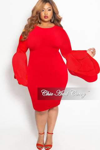 New Plus Size Long Sleeve BodyCon Dress with Front Gold Button and Back Neck Tie in Red