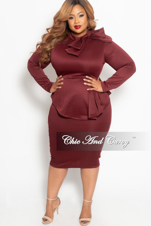 Final Sale Plus Size BodyCon Peplum Dress with Neck Tie and Back Zipper in Burgundy