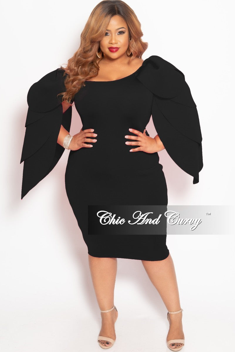 142443253b Final Sale Plus Size Off the Shoulder BodyCon Midi Dress with Exaggerated  Leaf Sleeves in Black Scuba