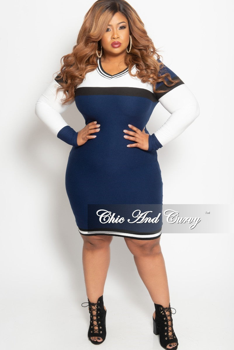 41c442b51ef69 New Plus Size Long Sleeve BodyCon Dress in White Navy and Black – Chic And  Curvy