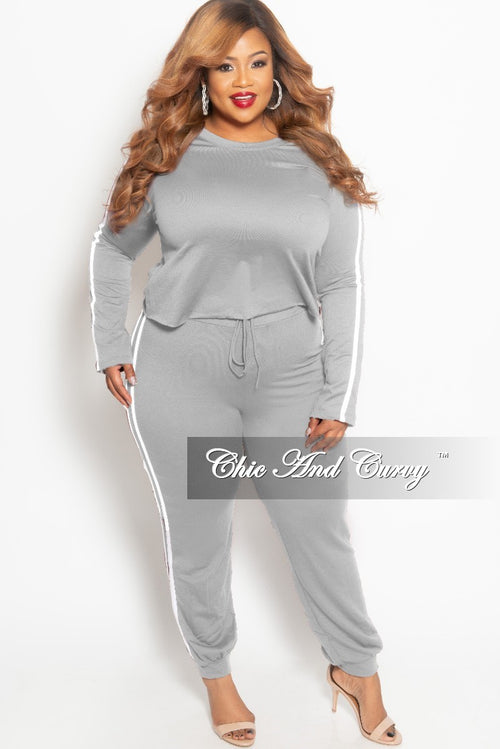 New Plus Size 2-piece Jogger Set in Grey with White Trim