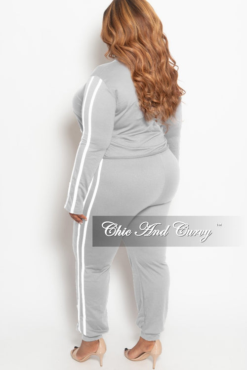 Final Sale Plus Size 2-piece Jogger Set in Grey with White Trim
