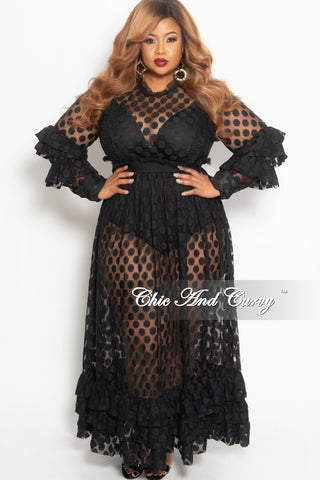 c8ff1361043d Final Sale Plus Size Polka Dot Sheer Maxi Dress with Ruffle Sleeves and  Bottom in Black.   98.00. New Plus Size Halter Top Jumpsuit with Attached  Tie ...