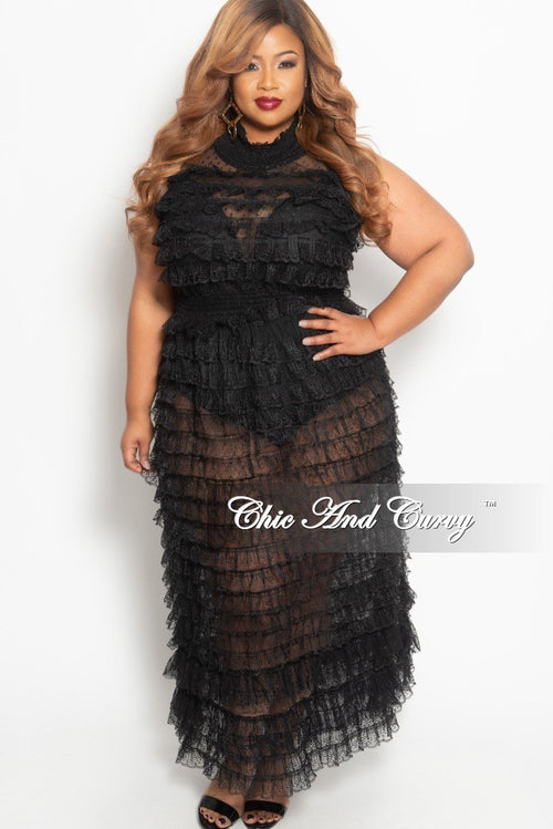 Final Sale Plus Size Sheer Layered Ruffle Sleeveless Maxi Dress in Black