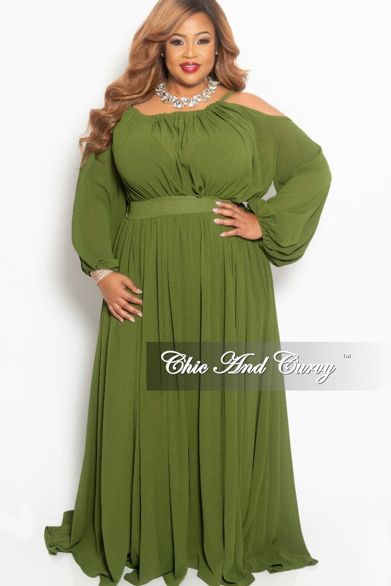 Final Sale Plus Size Chiffon One Sided Cold Shoulder Maxi in Olive