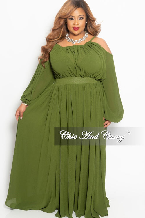 Final Sale Plus Size One Sided Cold Shoulder Long Chiffon Dress in Olive
