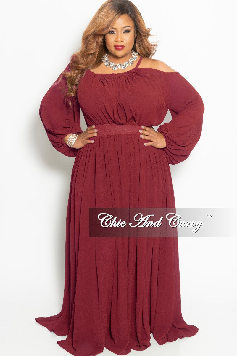 Final Sale Plus Size One Sided Cold Shoulder Long Chiffon Dress in Burgundy