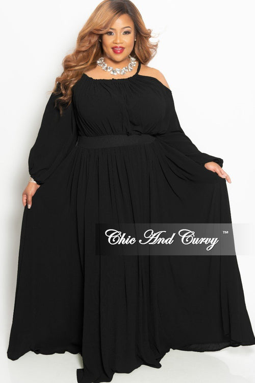 Final Sale Plus Size One Sided Cold Shoulder Long Chiffon Dress in Black