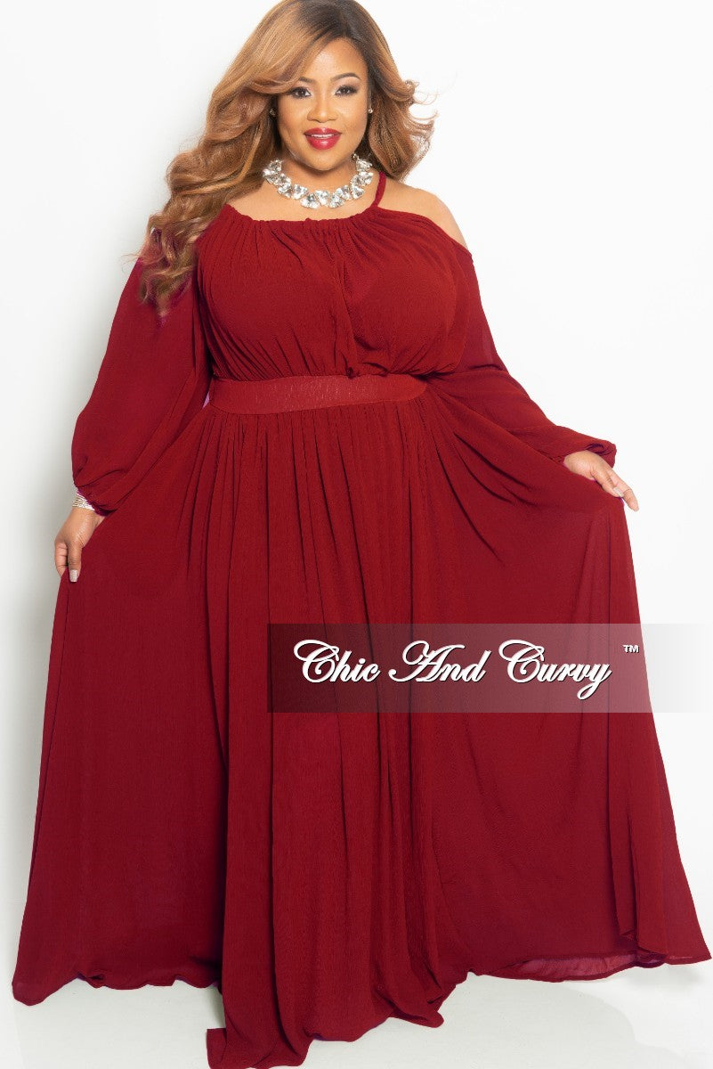 Final Sale Plus Size One Sided Cold Shoulder Long Chiffon Dress in Wine