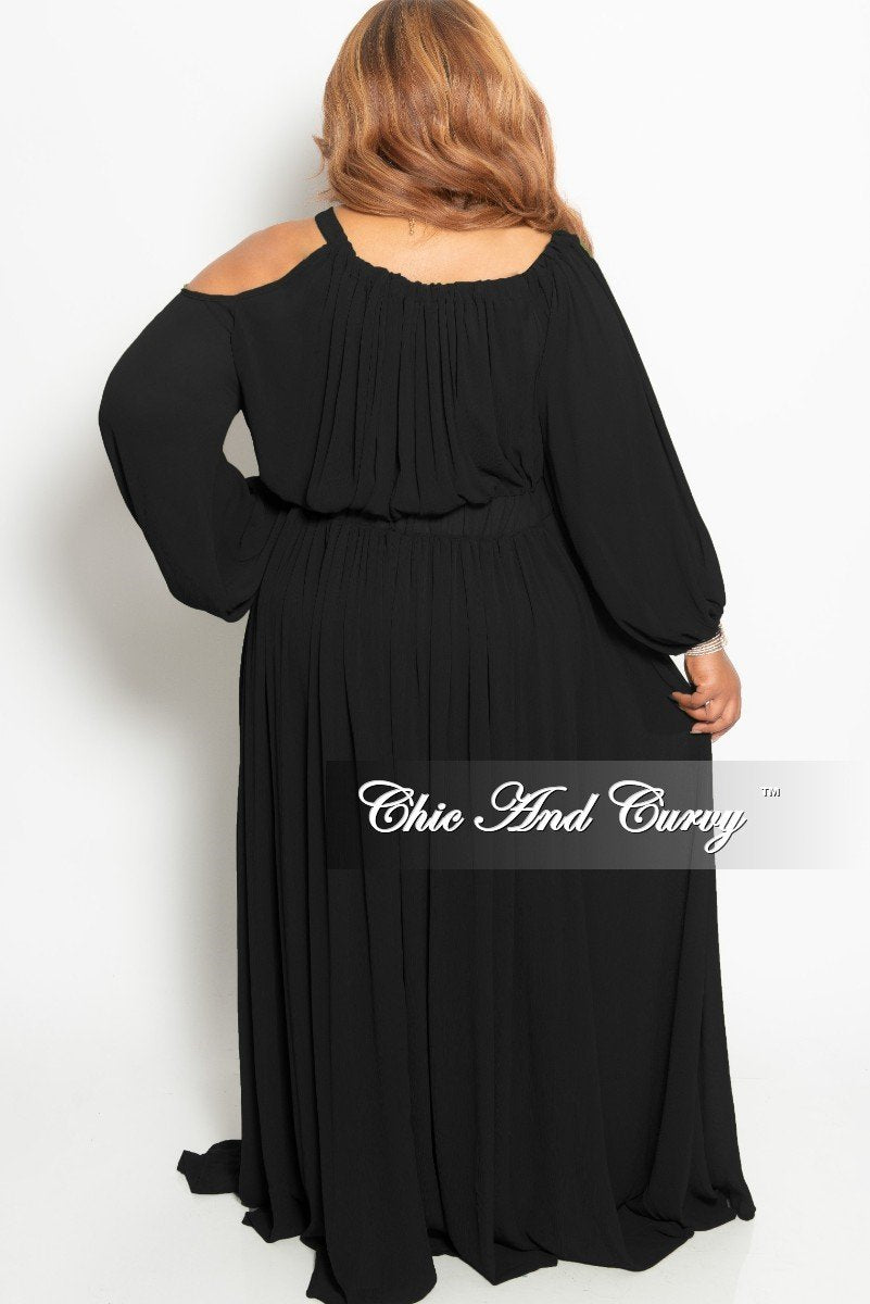 Final Sale Plus Size Chiffon One Sided Cold Shoulder Maxi in Black