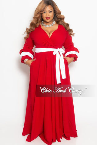 ea7d11b24941 New Plus Size Faux Wrap Long Pocket Dress with Attached Tie and Puffy  Sleeves in Red with White Trim.   75.00. New Plus Size Halter Top Jumpsuit  ...