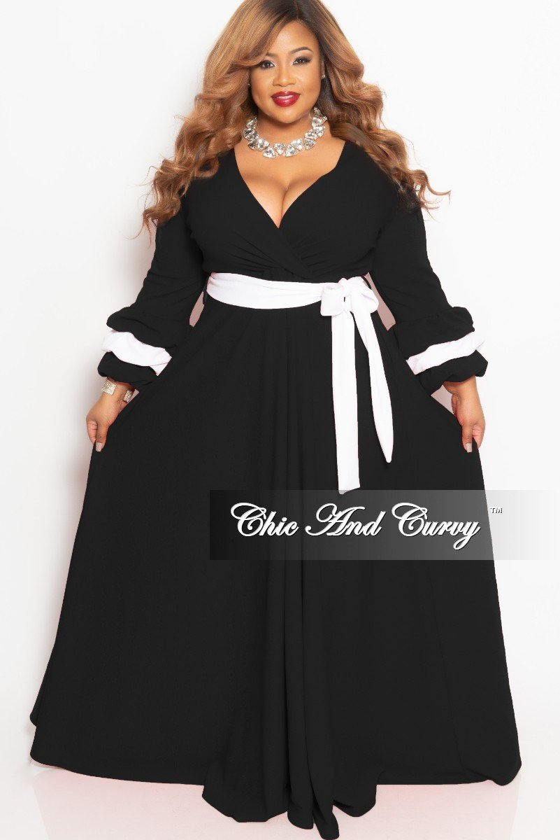 New Plus Size Faux Wrap Long Pocket Dress with Attached Tie and Puffy Sleeves in Black with White Trim