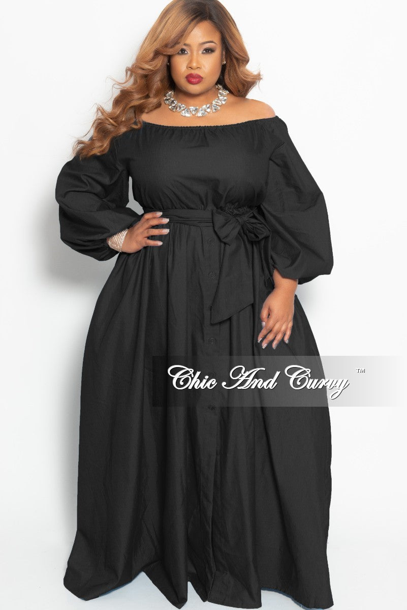 New Plus Size Off the Shoulder Maxi Dress with Attached Tie and Bottom Buttons in Black
