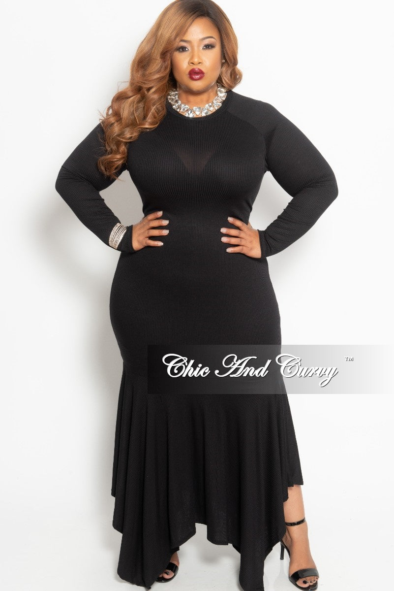 Final Sale Plus Size Long BodyCon Dress with High-Low Bottom in Black Light Weight Ribbed Fabric