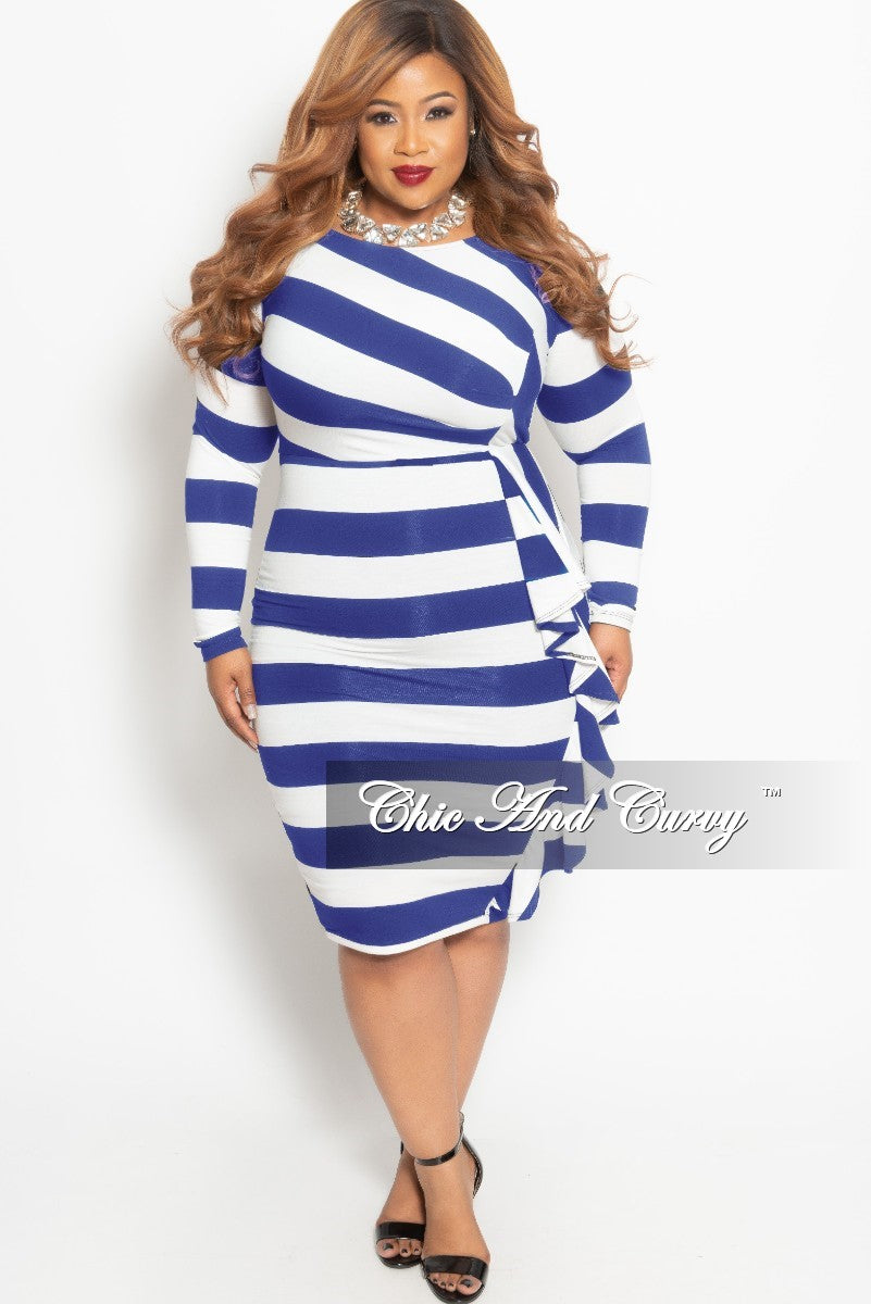 b463ba9d1c423 Final Sale Plus Size Long Sleeve BodyCon Dress with Side Ruffle in Blu –  Chic And Curvy