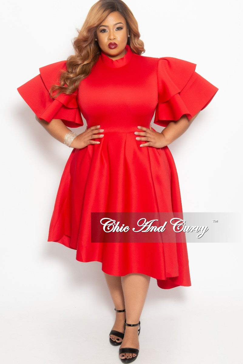 Final Sale Plus Size Flare Pocket Dress with Ruffle Sleeves and ...