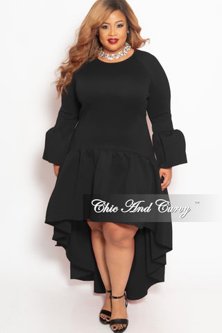 b206f8c41049 Final Sale Plus Size Long High-Low Dress with Ruffle Sleeves and Bottom in  Black Scuba.   79.00. Final Sale Plus Size BodyCon Knee Length Bodysuit  Romper ...