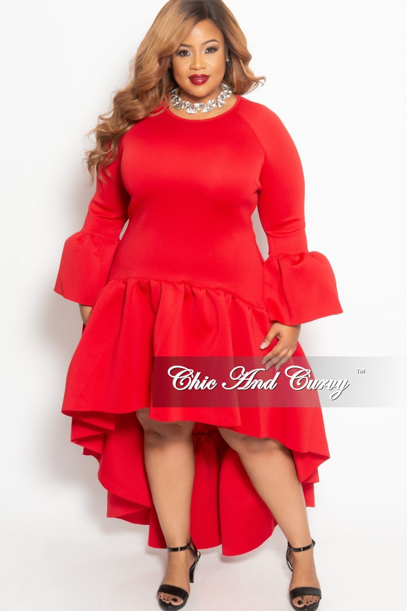 Final Sale Plus Size Long High-Low Dress with Ruffle Sleeves and Bottom in Red Scuba